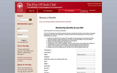 Screenshot of Signup Page fiveoclockclub.com - Become a Member » Five O'Clock Club - captured Sept. 22, 2014