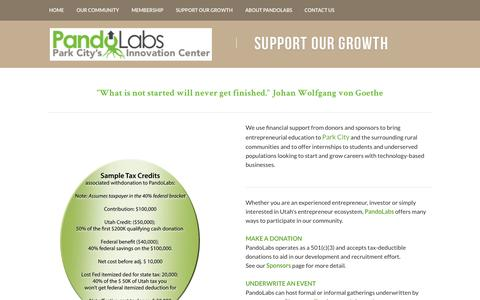 Screenshot of Support Page pandolabs.org - Support Our Growth - PandoLabs Co-Workspace in Park City, UT - captured July 19, 2015