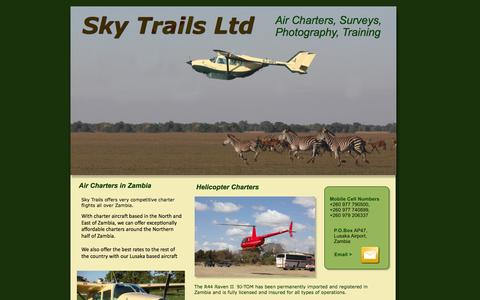 Screenshot of Home Page skytrailszambia.com - Skytrails Ltd - captured Oct. 6, 2014