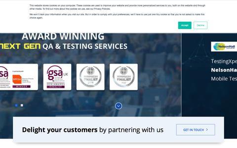 Screenshot of Home Page testingxperts.com - Specialist QA & Software Testing Company | TestingXperts - captured Aug. 12, 2019
