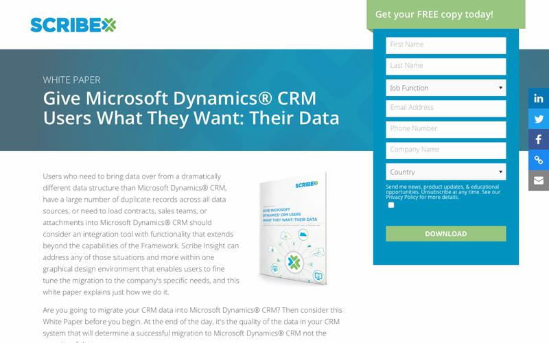 White Paper:  Give Microsoft Dynamics® CRM Users What They Want: Their Data | Scribe Software