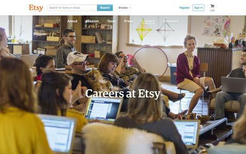 Screenshot of Jobs Page etsy.com - Careers at Etsy - captured July 3, 2015