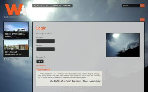 Screenshot of Login Page waiconstruction.com - Login » Wainschaf Associates, LLC - captured Oct. 7, 2014