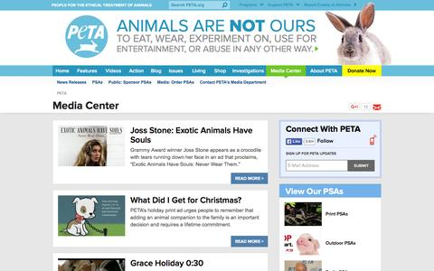 Screenshot of Press Page peta.org - Media Center | PETA - captured Dec. 8, 2015