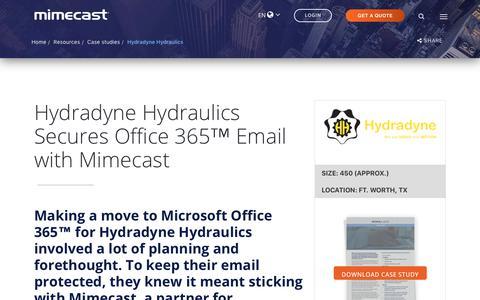 Screenshot of Case Studies Page mimecast.com - Hydradyne Hydraulics Office 365 Case Study | Mimecast - captured Feb. 25, 2019