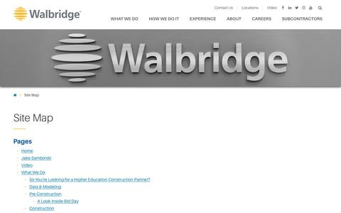Screenshot of Site Map Page walbridge.com - Site Map   Walbridge - captured Nov. 10, 2017