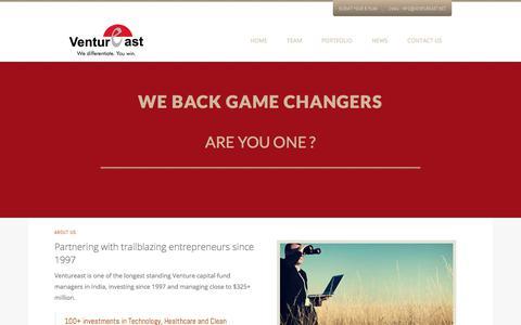 Screenshot of Home Page ventureast.net - Ventureast | Premier Indian venture capital firm - captured Oct. 20, 2017