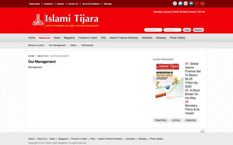 Screenshot of Team Page islamitijara.com - Management - captured Jan. 9, 2016