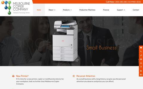 Screenshot of Home Page melbournecopiers.com.au - Melbourne Copier Company VIC | Printing - captured Oct. 21, 2018
