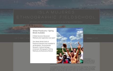 Screenshot of Testimonials Page anthrofieldschool.com - Isla Mujeres Ethnographic Fieldschool | TESTIMONIALS - captured Nov. 26, 2016