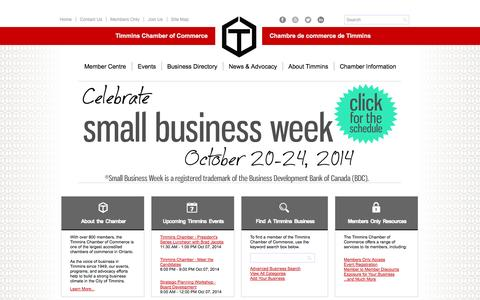 Screenshot of Home Page timminschamber.on.ca - Timmins Chamber of Commerce | Timmins Chamber of Commerce | Timmins, ON - captured Oct. 7, 2014