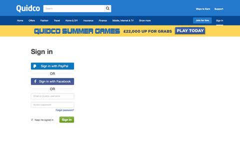Screenshot of Login Page quidco.com - Quidco - Sign In - captured July 25, 2016