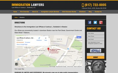 Screenshot of Maps & Directions Page jgoldlaw.com - Boston, Massachusetts Immigration Lawyer :: Directions :: Lowell, MA Visa Attorney - captured Oct. 2, 2014