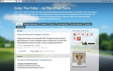 Screenshot of Blog zotterthepotter.blogspot.com - Zotter The Potter ...As The Wheel Turns - captured June 15, 2016