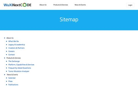 Screenshot of Site Map Page nextcode.com - WuXi NextCODE | Site Map - captured Aug. 11, 2015