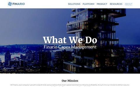 Screenshot of About Page finario.com - Finario Capex Management Software   FINARIO - captured Nov. 25, 2016