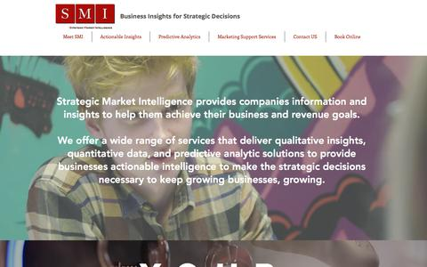 Screenshot of Home Page strategicmarketintelligence.com - Business Insights | Strategic Market Intelligence, LLC. - captured Sept. 21, 2018