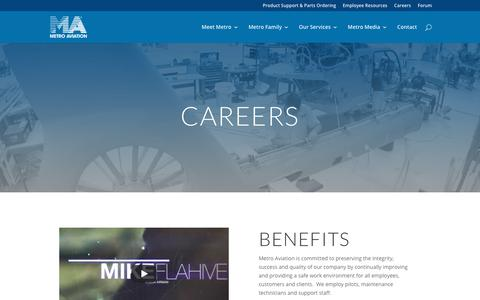 Screenshot of Jobs Page metroaviation.com - Metro Aviation   Work With Us - captured Oct. 18, 2018