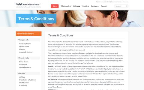 Screenshot of Terms Page wondershare.com - Terms & Conditions of Wondershare Software - captured Sept. 10, 2014