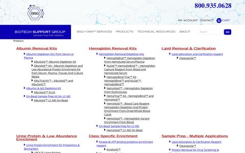Screenshot of Products Page biotechsupportgroup.com - Products | Biotech Support Group LLC - captured July 29, 2016
