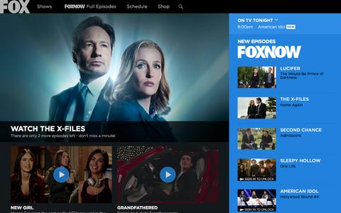 Screenshot of Home Page fox.com - FOX Broadcasting Company | Full Episodes, Shows, Schedule - captured Feb. 10, 2016