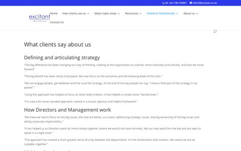 Screenshot of Testimonials Page excitant.co.uk - What clients say about us - captured Sept. 30, 2018