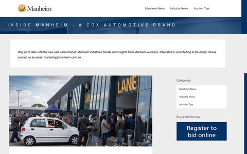 Screenshot of Blog manheim.com.au - Inside Manheim - A Cox Automotive Brand - Stay up to date with the new cars sales market, Manheim initiatives, trends and insights from Manheim Auctions. Interested in contributing to this blog? Please contact us by email: marketing@manheim.com.au. - captured Oct. 15, 2016