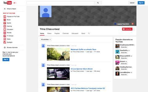 Screenshot of YouTube Page youtube.com - Trina Chee-a-kwai  - YouTube - captured Oct. 22, 2014