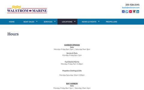 Screenshot of Hours Page walstrom.com - Walstrom Marine - Hours - captured Oct. 19, 2017