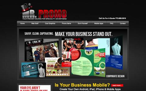 Screenshot of Home Page iammrpromo.com - Graphics, Printing, Web Design & Mobile Apps - captured Oct. 9, 2014