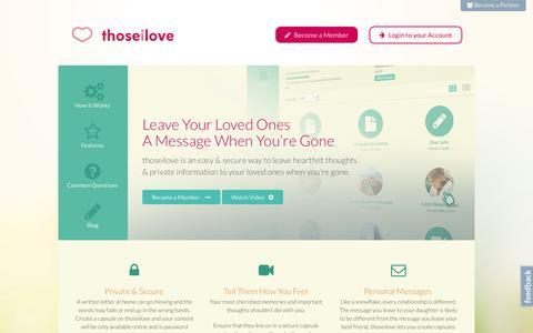 Screenshot of Home Page thoseilove.com - thoseilove.com - captured Oct. 9, 2014