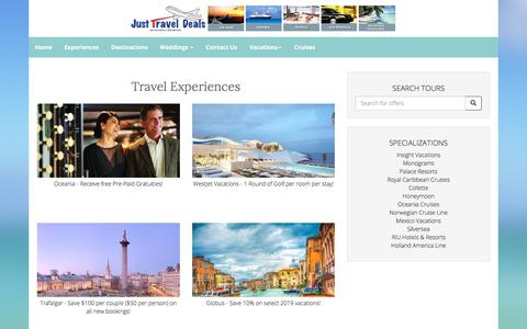 Screenshot of Products Page justtraveldeals.ca - Our Products - captured Sept. 20, 2018