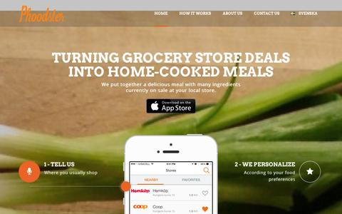 Screenshot of Home Page phoodster.com - Phoodster turns grocery store deals into home cooked meals - captured Jan. 28, 2016