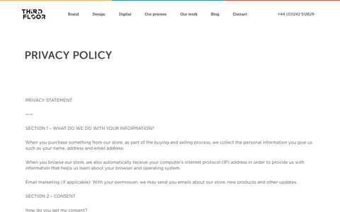 Screenshot of Privacy Page thirdfloordesign.co.uk - Privacy policy / Third Floor Design - captured June 18, 2017