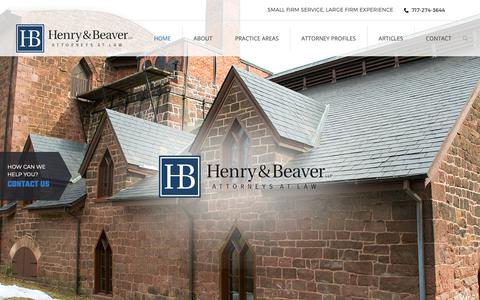 Screenshot of Home Page henrybeaver.com - Lebanon Full Service Law Firm | Lancaster County Criminal Attorney | Harrisburg Family Law | Attorneys at Law - captured Sept. 28, 2018