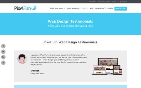 Screenshot of Testimonials Page pixelfish.com.au - Pixel Fish - Web Design Testimonials - captured July 13, 2016