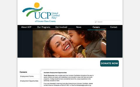 Screenshot of Jobs Page ucpdane.org - Careers | UCP of Greater Dane County - captured Oct. 7, 2014