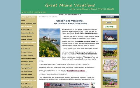 Screenshot of Home Page great-maine-vacations.com - Great Maine Vacations - The Unofficial Maine Travel Guide - captured Sept. 22, 2014