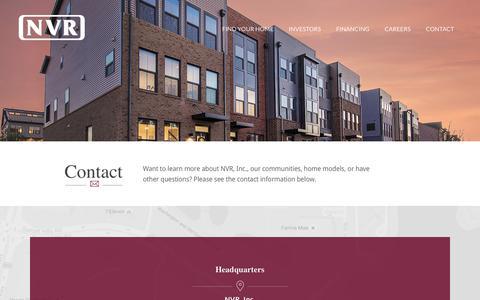 Screenshot of Contact Page nvrinc.com - Contact Us at NVR, Inc., Ryan Homes, Heartland Homes, and NVHomes - captured June 18, 2017