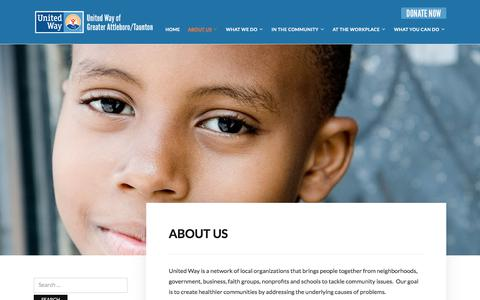 Screenshot of About Page uwgat.org - About Us – United Way of Greater Attleboro/Taunton - captured Oct. 27, 2017