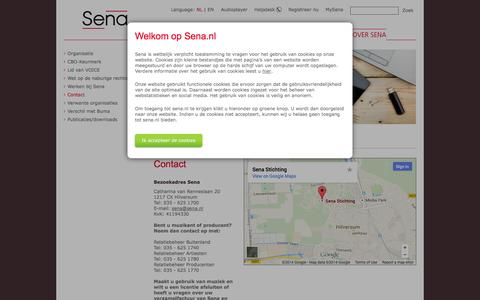 Screenshot of Contact Page sena.nl - Sena - Contact - captured Oct. 3, 2014