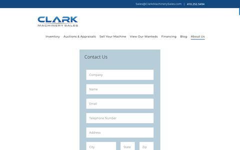 Screenshot of Contact Page clarkmachinerysales.com - Contact Us - Clark Machinery Sales - captured Sept. 28, 2018