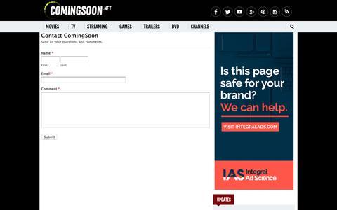 Screenshot of Contact Page comingsoon.net - Contact Us - ComingSoon.net - captured Nov. 7, 2018