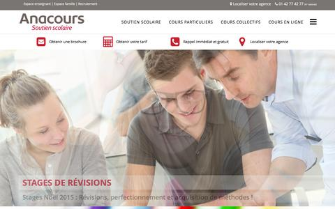 Screenshot of Home Page anacours.com - Anacours Soutien scolaire - captured Dec. 25, 2015