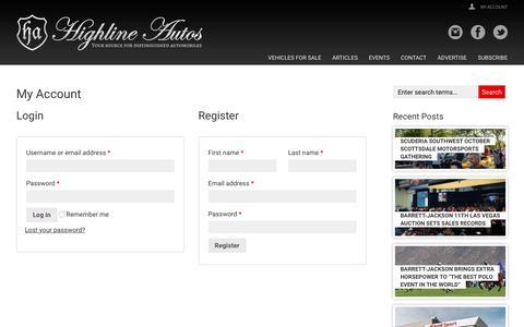 Screenshot of Login Page highline-autos.com - My Account - Highline Autos - Your source for distinguished automobiles - captured Nov. 5, 2018