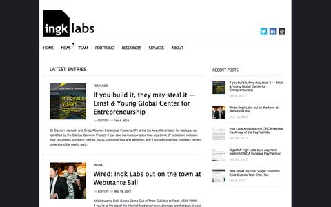 Screenshot of Press Page ingk.com - Ingk Labs | Great companies grown from great ideas - captured Sept. 16, 2014