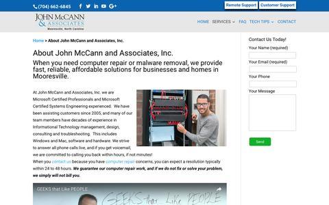 Screenshot of About Page mccannassociates.com - About | John McCann and Associates, Inc. - captured Nov. 27, 2016