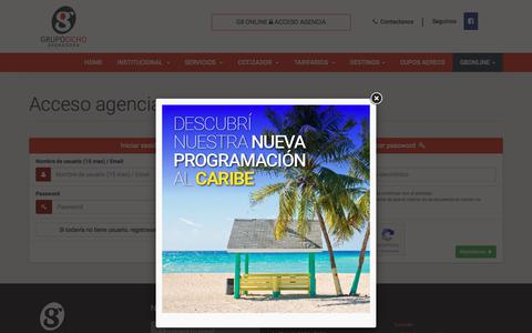 Screenshot of Login Page grupo8.com.ar - Iniciar sesión - Grupo Ocho Operadora - captured Sept. 23, 2017