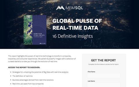 Screenshot of Landing Page memsql.com - Global Pulse of Real-Time Data: 16 Definitive Insights - captured Nov. 3, 2016