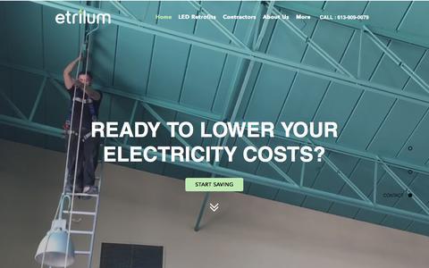 Screenshot of Home Page etrilum.com - Etrilum Light Inc. - Eastern Ontario's LED lighting solution provider - captured Aug. 28, 2017